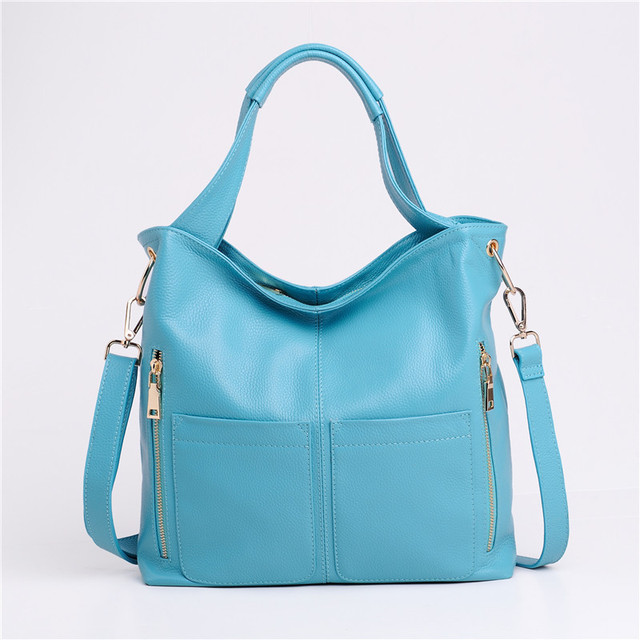 Fashion 100% Genuine Leather Office Ladies Tote Handbags Large Capacity Cowhide Messenger Bags For Women Big Soft Shoulder Bags