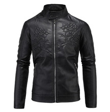 New Motorcycle Jacket Retro Vintage PU Leather Jackets Men Embossed Floral Leather Jackets Slim Fit Moto Jacket Punk Size M-5XL цена