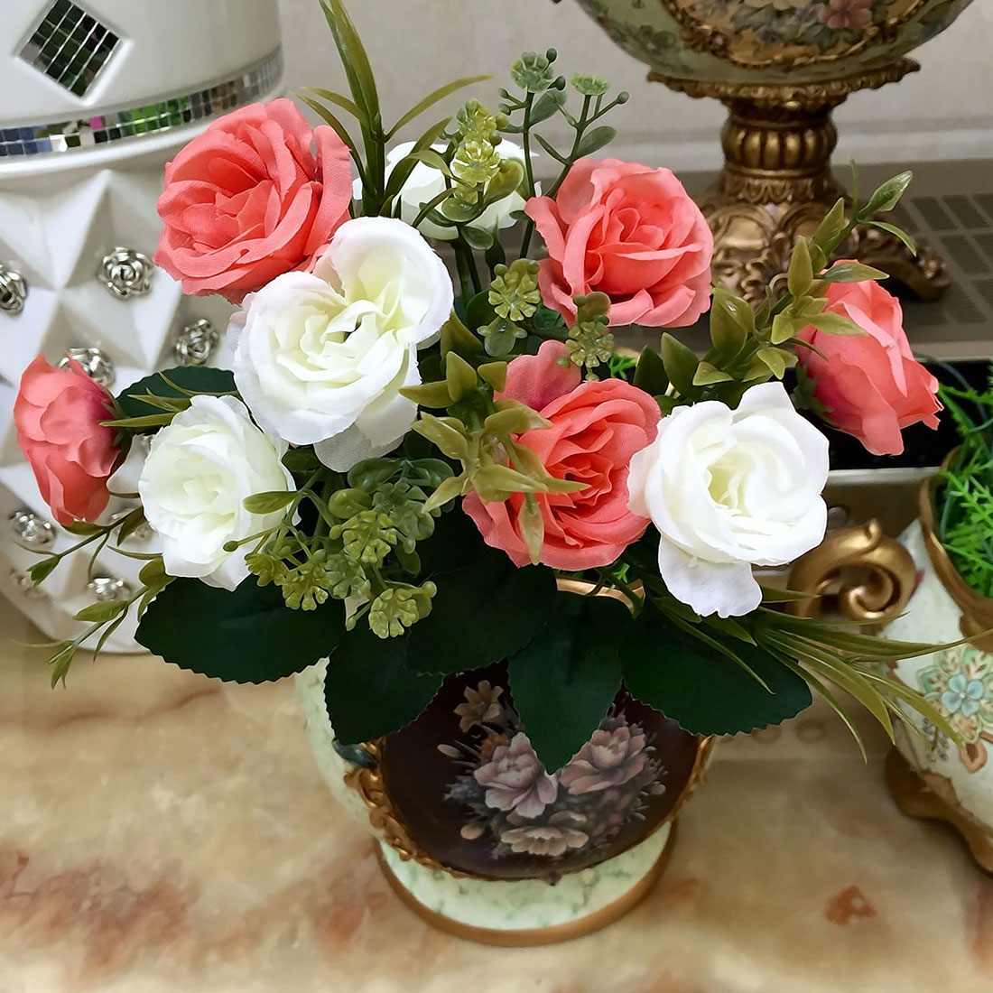 French rose 1 bunch artificial floral bouquet fake silk flower note different size for manual measuring for measuring way there will be a little error about 1 3cm the color may be a little different because of izmirmasajfo