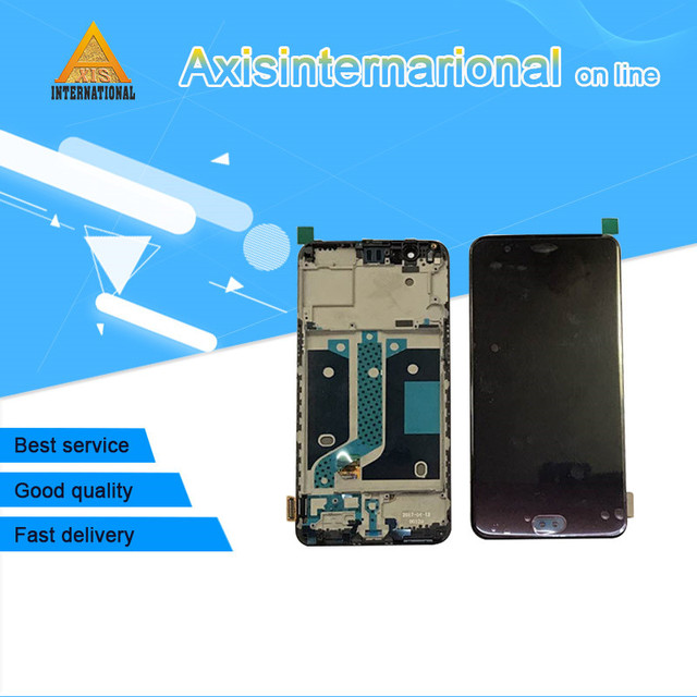 Original Axisinternational For Oneplus 5 A5000 LCD screen display+touch digitizer with frame white/black Free shipping