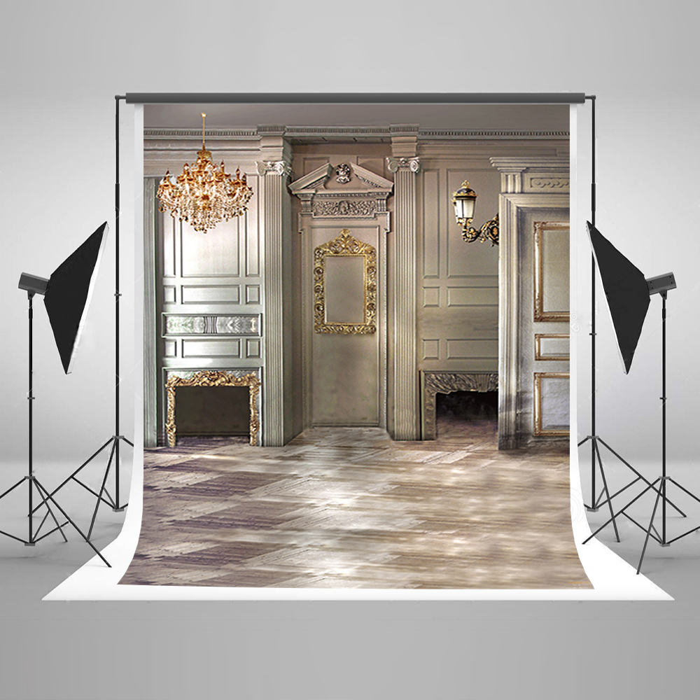 Wedding Photography Backdrops Gold Chandelier Mirror Photo Booth Backdrop Gray Ground Background for Photography Studio