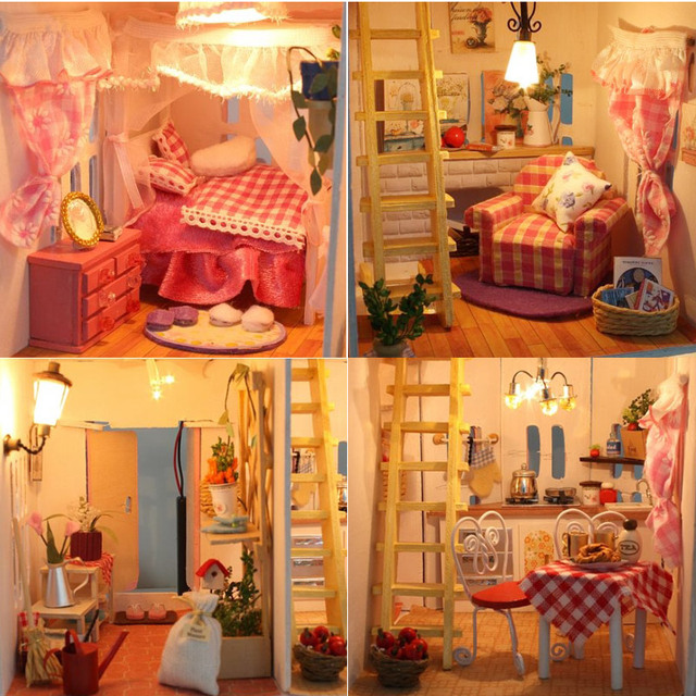 Three Layer Wooden DIY Doll House with LED Light