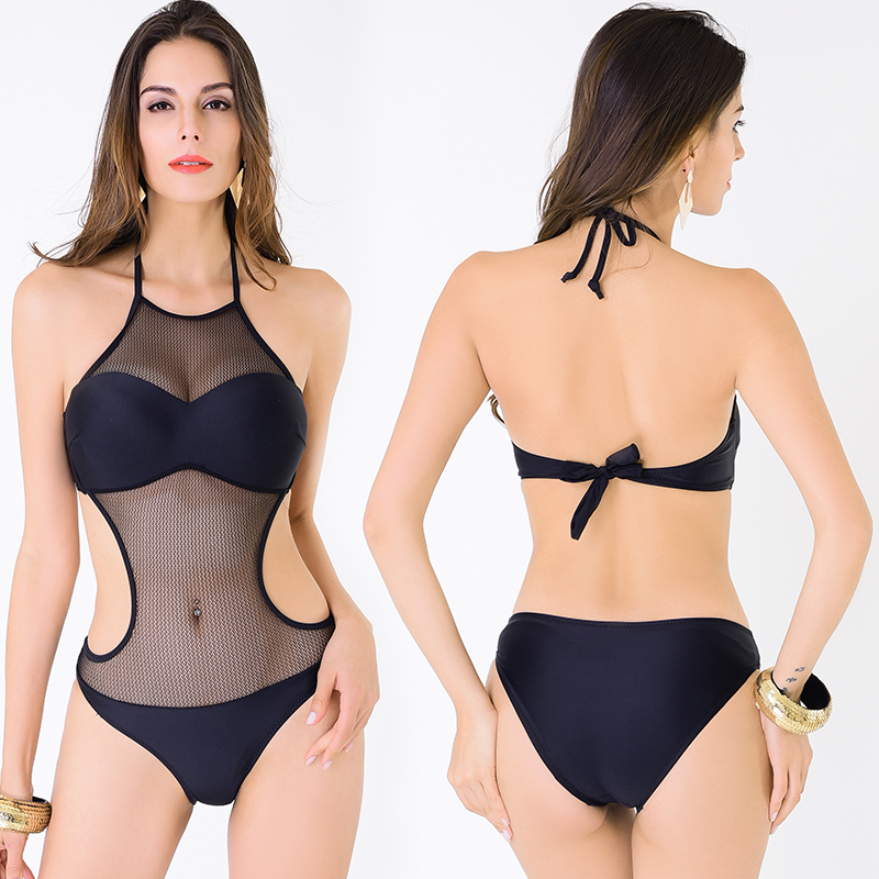 c520e6746eaff Sexy See Through Swimwear women Halter High Neck Mesh Monokini Low Waist  Cut Out Bathing Suit One Piece Swimsuit Solid Colors-in One-Piece Suits  from Sports ...