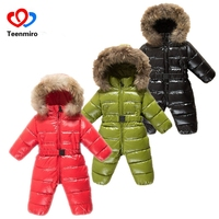 Winter Baby Rompers clothes Children Duck Down Jumpsuit Real Fur Newborn Overalls For Infants Boys Girls Jumpsuit Outerwear 25