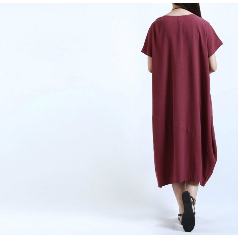 2017 Summer Pregnant Women Dress Casual Maternity Clothes Big Yards Short Sleeve Pocket Solid Color Dresses CE599