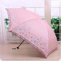 Folding Lace Umbrella Parasol Small Lightweight Sun Women Mini UV Protection Vintage Umbrellas Girl Parasol Flower Modis 40S164