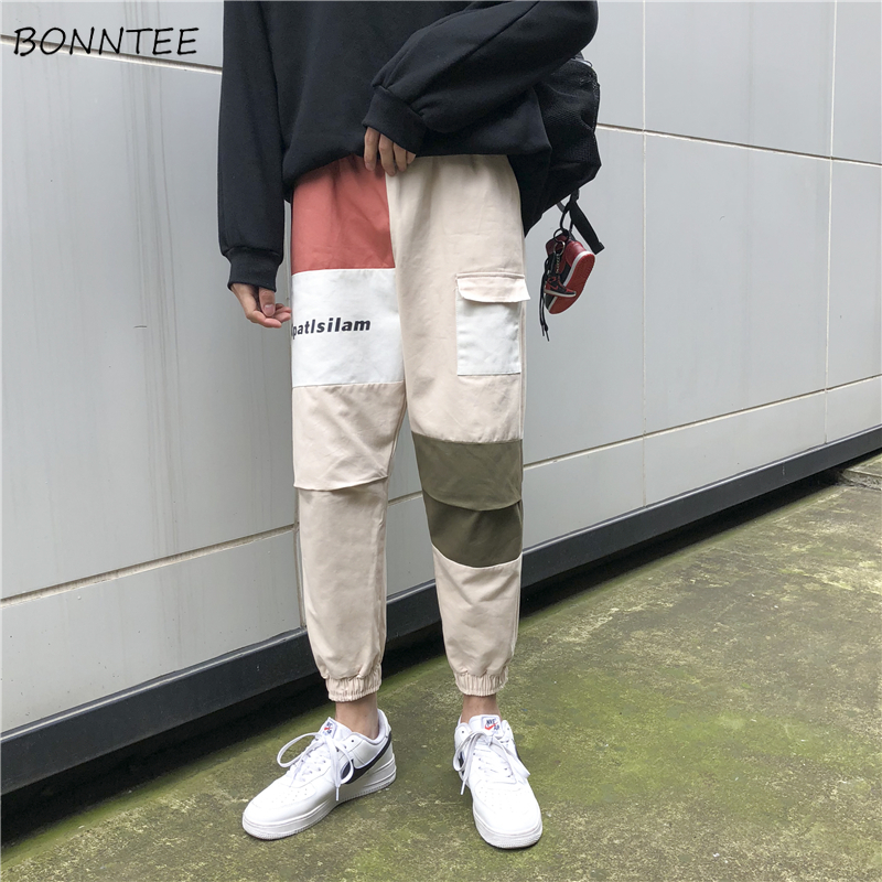 Pants Men Patchwork Cargo Pant Loose Ankle-length High Quality Mens Ulzzang Korean Style Daily Comfortable Trousers BF Casual(China)