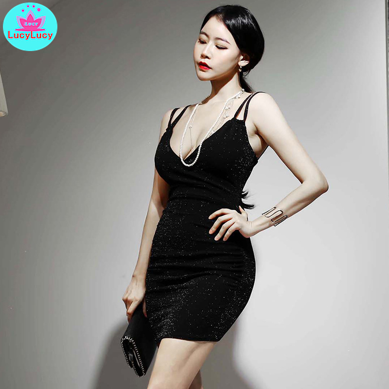Women 39 s 2019 summer new sexy V neck sling bright mesh yarn slim bag hip bottom dress Knee Length Zippers Sleeveless Solid in Dresses from Women 39 s Clothing