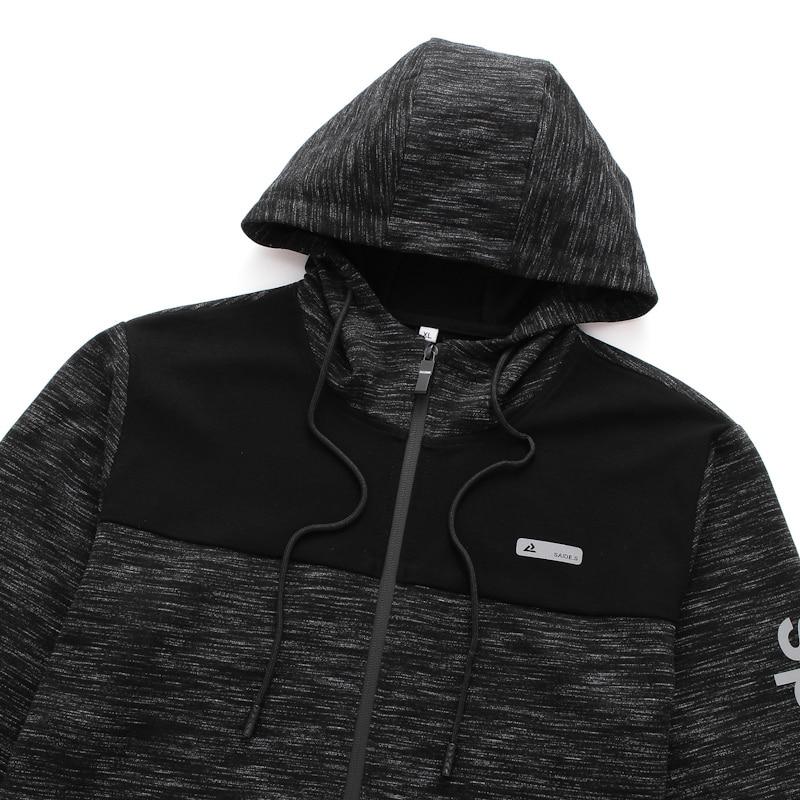 plus size 8XL 7XL Spring Men Fleece Hoodies Jacket Mens Contrast Color Slim Zipper Pocket Sweatshirt Casual Autumn Hooded Coat - 3
