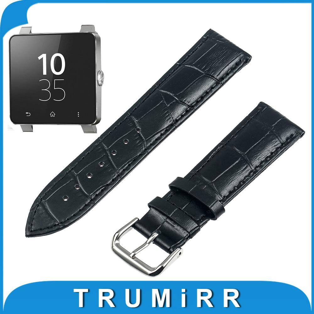все цены на  24mm Genuine Leather Watchband Croco Grain for Sony Smartwatch 2 SW2 Replacement Band Strap Bracelet Black Brwon Pink Red White  онлайн