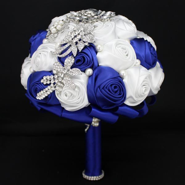 Royal Blue Luxury Rhinestone Artificial Bridal Wedding Bouquets Ramo Novia Mariage Bridesmaid Flower Accessoires