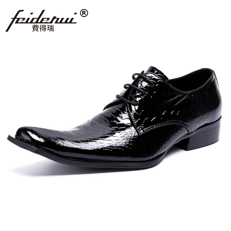 Plus Size Luxury Pointed Toe Lace up Man Wedding Party Footwear Patent Leather Alligator Derby Men's Runway Rocker Shoes SL444 plus size fashion pointed toe derby man runway footwear italian designer patent leather wedding party men s runway shoes sl435