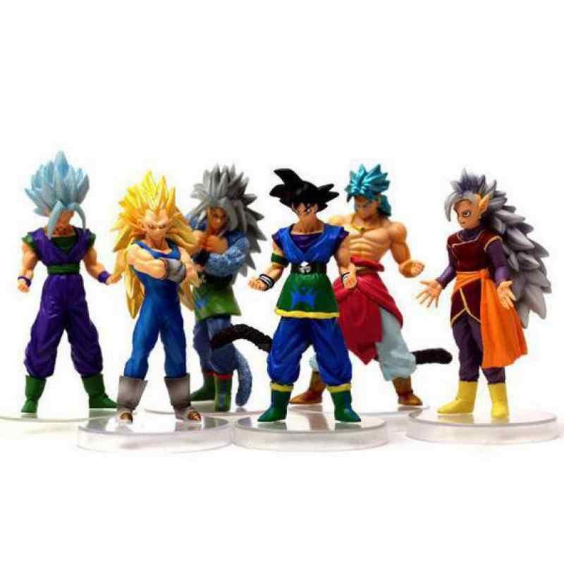 Dragon Ball Z 6 pcs Anime Dragonball Son Gohan Super Saiyan Figuras de Ação Mestre Estrelas Pedaço Estatueta Colecionável Modelo de Brinquedo