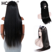 360 Lace Frontal Wig Brazilian Remy Straight Wigs Lace Front Human Hair Wigs Black For Women Pre Plucked With Baby Hair HCDIVA