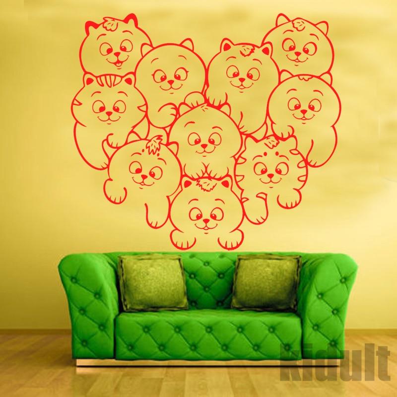 Carta Da Parati Animalier.Us 11 33 Vita Creativa Adesivi Murali Adesivi Murali Cat Home Decor Parete Carta Da Parati Gatto Stampe Animalier Colore Adesivi Murali In Vinile