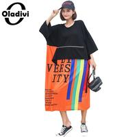 Oladivi Plus Size Women Letter Print Patchwork Dress Fashion Ladies Casual Loose Top Tees Shirt Dresses Female Tunic Vestido 7XL