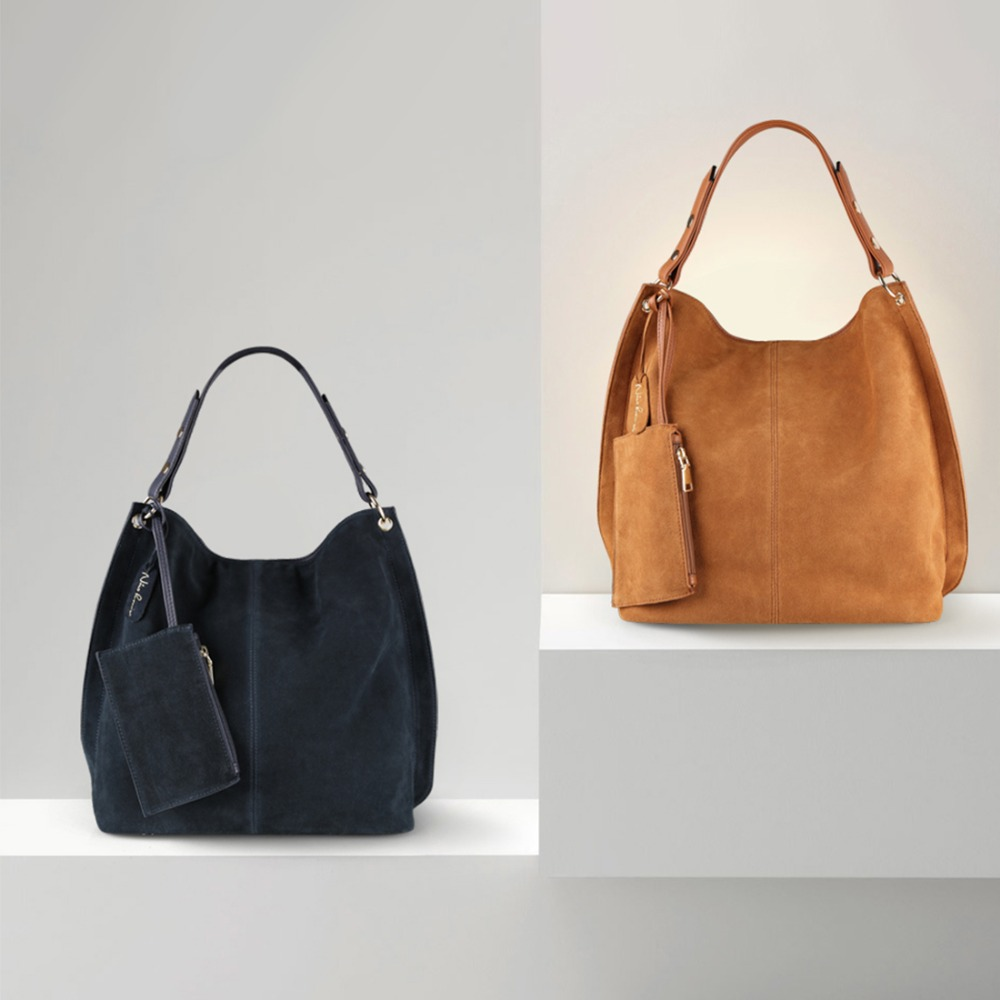 Nico Louise Women Real Split Suede Leather Hobo Bag Design Female Leisure Large Shoulder Bags With Wallet Travel Casual Handbag In From