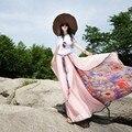 2017 New summer chiffon long skirt women bohemian print maxi skirts