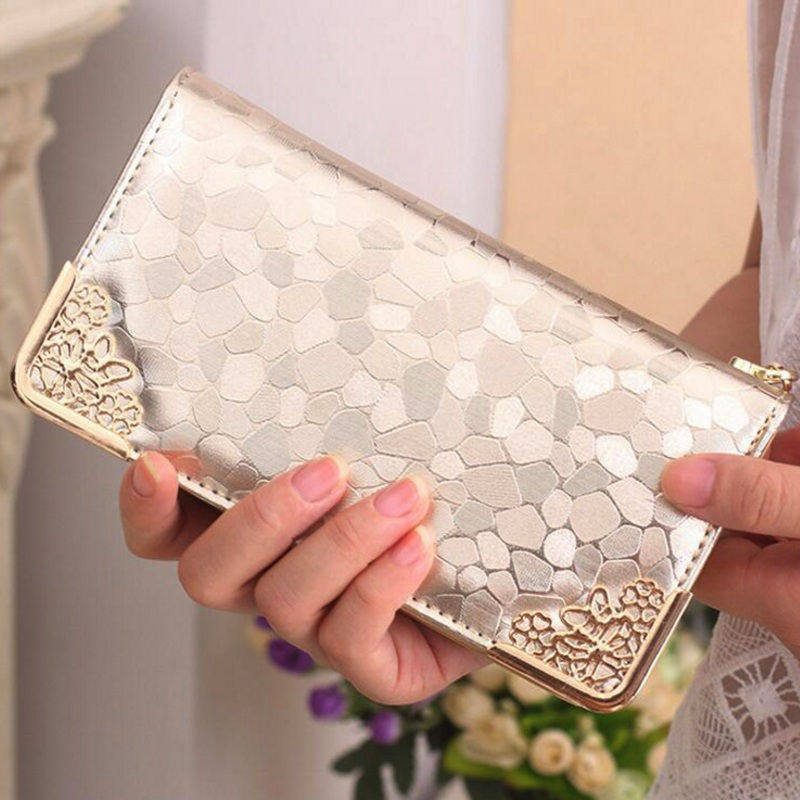 Fashion Women Stone Pattern Wallet Long Clutch PU Leather Wallets Bling Coin Purse Ladies Elegant Money Bag Card Holder Silver brand genuine leather wallet female purse long coin purse money bag casual card holder women wallets fashion purse wallet women
