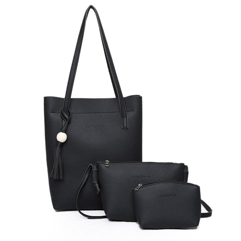 Women's Casual PU Leather Tassel Shoulder Bag Ladies Handbag Messenger Crossbody Bag Composite Bag Clutch Wallet 3Pcs Sets