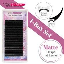 Miss La Mode matte ellipse eyelashes extension flat eyelash fit Flat lashes 0.15 C/D curl 1pc/lot