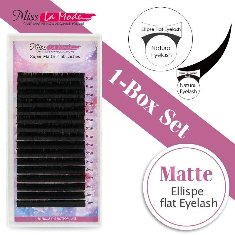 Miss La Mode matte eyelashes extension ellipse flat lashes ellipse eyelash extension fit Flat lashes 0.15 C/D curl 1pc/lot