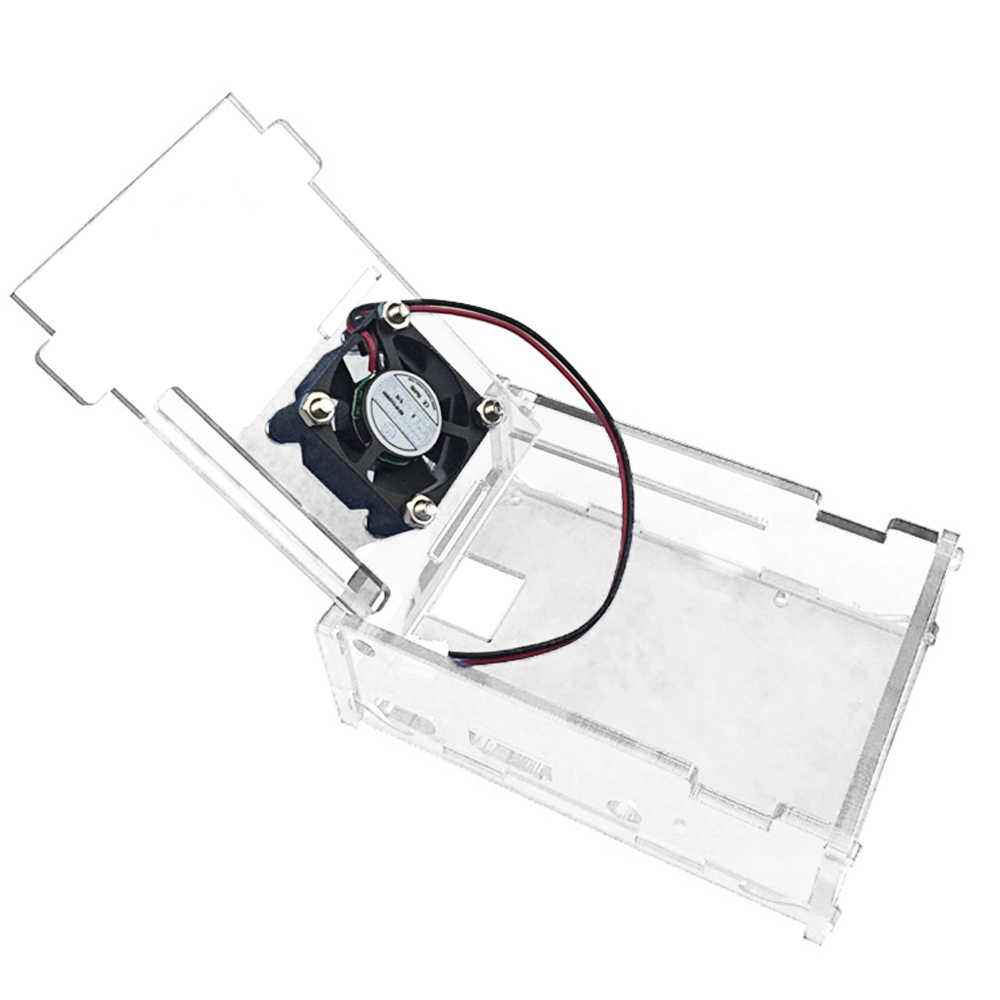 Elisona Transparent Acrylic Box Case Cover Skin Shell Cooling Fan Ventilator with Screws Set for Raspberry Pi 2 3 RPI Pi2 Pi3 image