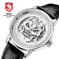Sas bouclier ancre requin Sport montre Unique 3D crâne creux cadran conception squelette mécanique montres hommes Top marque de luxe montres