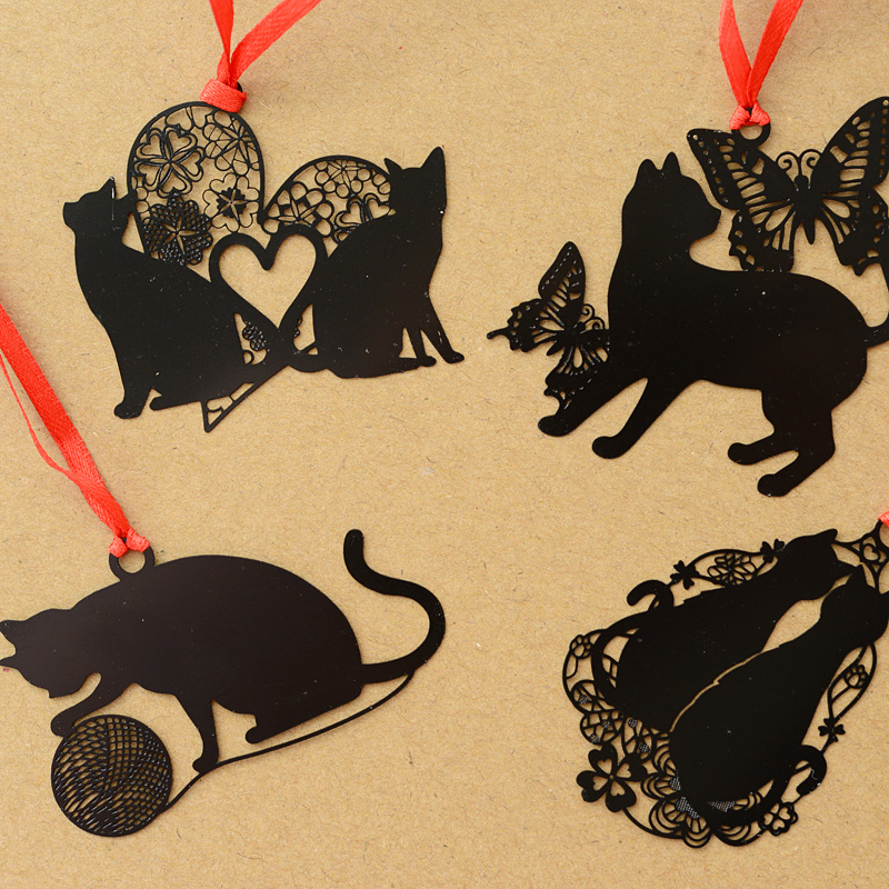DIY Cute Kawaii Black Cat Series Metal Bookmark For Book Paper Creative Items Lovely Korean Stationery Gift Package