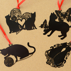 DIY śliczne Kawaii czarny kot seria metalowa zakładka do książki papierowe kreatywne przedmioty piękne koreańskie piśmiennicze opakowanie na prezent