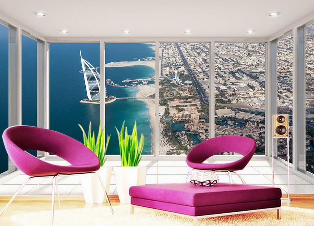Wallpaper 3d stereoscopic Floor balcony views of Dubai Yacht Hotel wallpaper 3d mural Home Decoration