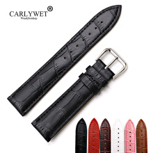 цена на New Wrapped Genuine Leather Band Watch Classic Alligator Grain Strap Belt With Silver Polished Bukle 12 14 16 18 20 22 24mm