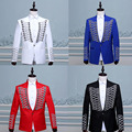 Vogue Palace Style Silver Embroidery Red Prince Tuxedos Classic Groomsmen Men Wedding Marshal Costumes (Jacket+Pants)