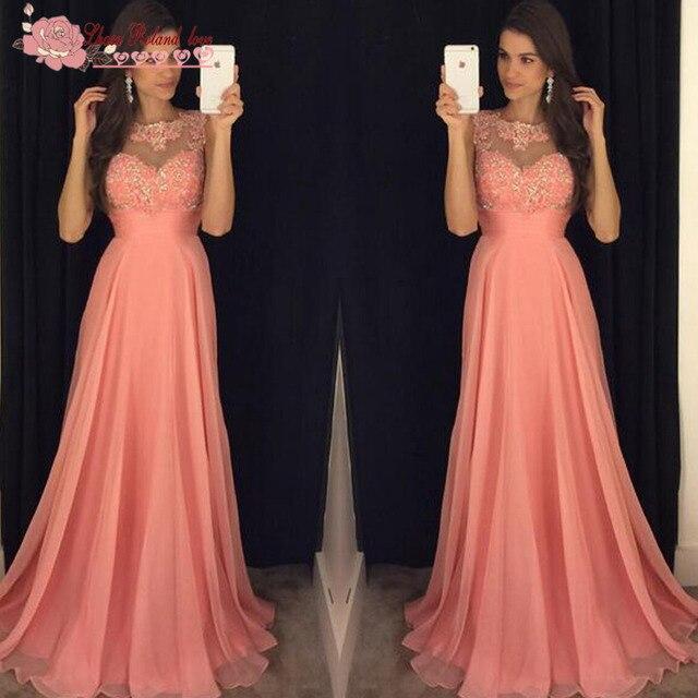 Vestido Longo Coral Pink Chiffon Long Evening Dress 2016