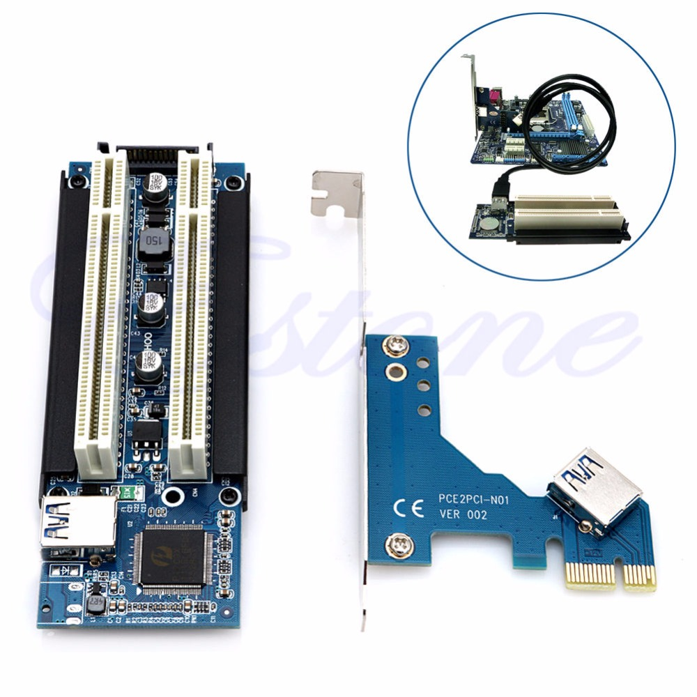PCI-E Express X1 To PCI Dual Riser Extend Adapter Card With USB 3.0 Cable 2.6 FT