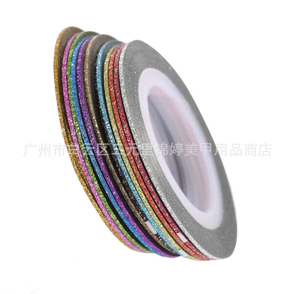 1mm 12mm brillo de Color de uñas rayas línea cinta etiqueta engomada de arte decoraciones consejos diy para esmalte de uñas en gel de sobresalen por M1141