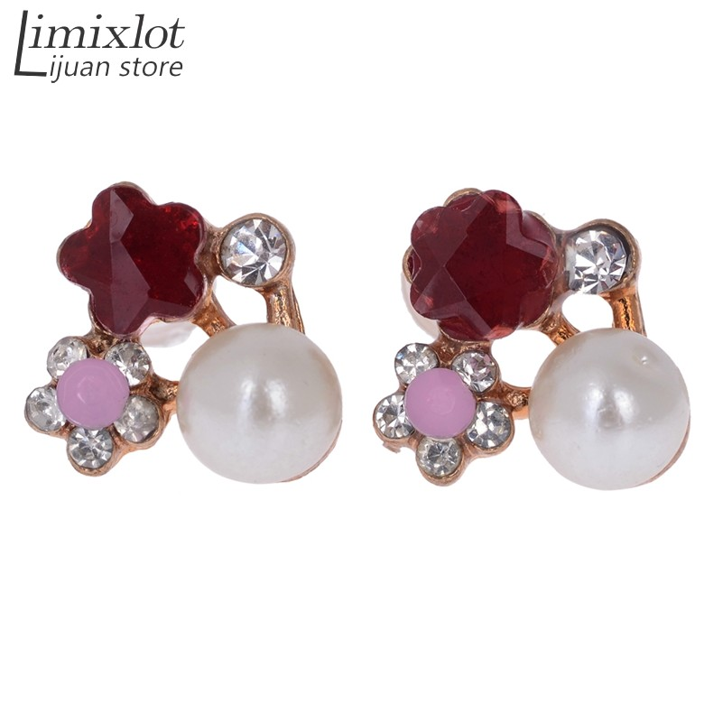 Lijuan Jewellery Store New Fashion High Quality Earrings Jewelry Colorful Color Crystal Rhinestone Pearl Flower Grape Stud Earrings