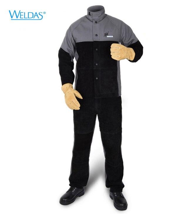 цена Arc Knight Split Cow Leather Flame Retardant Welding Clothing FR Welder Pants Fire Retandant Welding Jackets