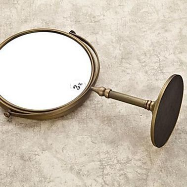Antique mirror bathroom free standing solid brass magnifier mirror in the bath 8 inch 3x magnifying mirror