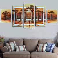 Handpainted Abstract Africa Landscape Oil Paintings on Canvas Home Decor Wall Art African Baobab Tree Pictures Large 5 Panel