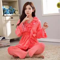 New Leisure Autumn/winter women pajamas sets lovely Flannel Home clothing V neck warm thickening long sleeve sleepwear