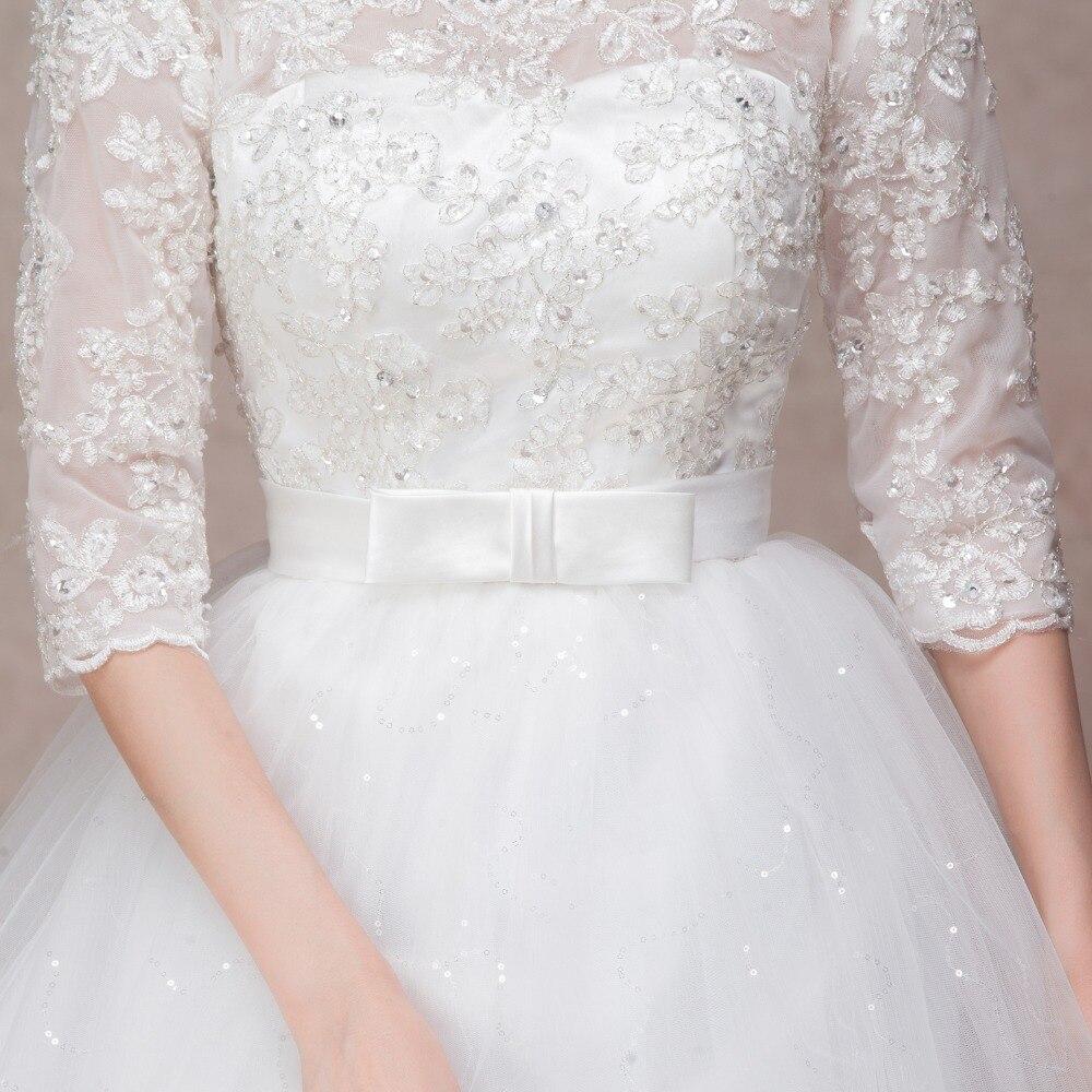 Longue demi manches robe de mariée en dentelle musulmane de haute qualité 2019 mariée simple robe de mariée photo réelle robe de mariée vestido de noiva - 5