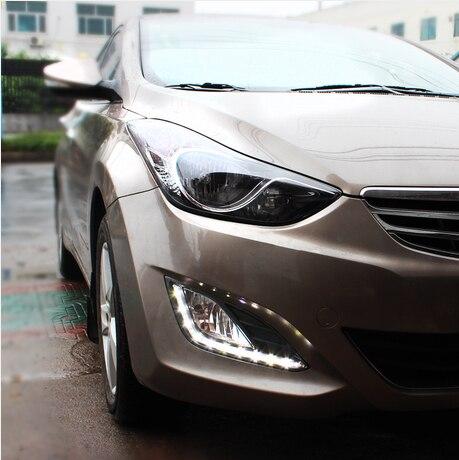 ФОТО Hireno Super-bright LED Daytime Running Light for Hyundai Elantra 2013 2014 LED Car DRL fog lamp 2PCS