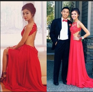 Hot Sexy Halter Appliques Lace Backless Evening Dresses Long Formal Gown Beautiful Red Prom Dresses zy1187