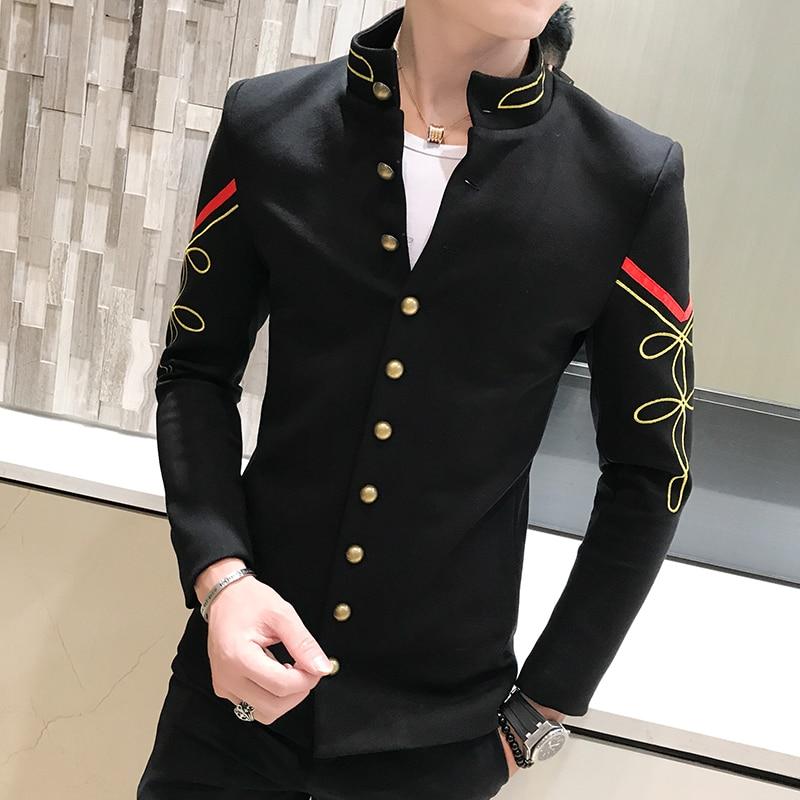 4 Color Gold Button Chinese Collar Suit Jacket Slim Fit Mens Blazer Pattern Army Pilot Jacket Men Black Blue Red White Blazer