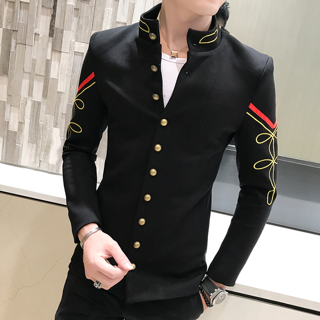 60 Color Gold Button Chinese Collar Suit Jacket Slim Fit Mens Blazer Fascinating Blazer Pattern