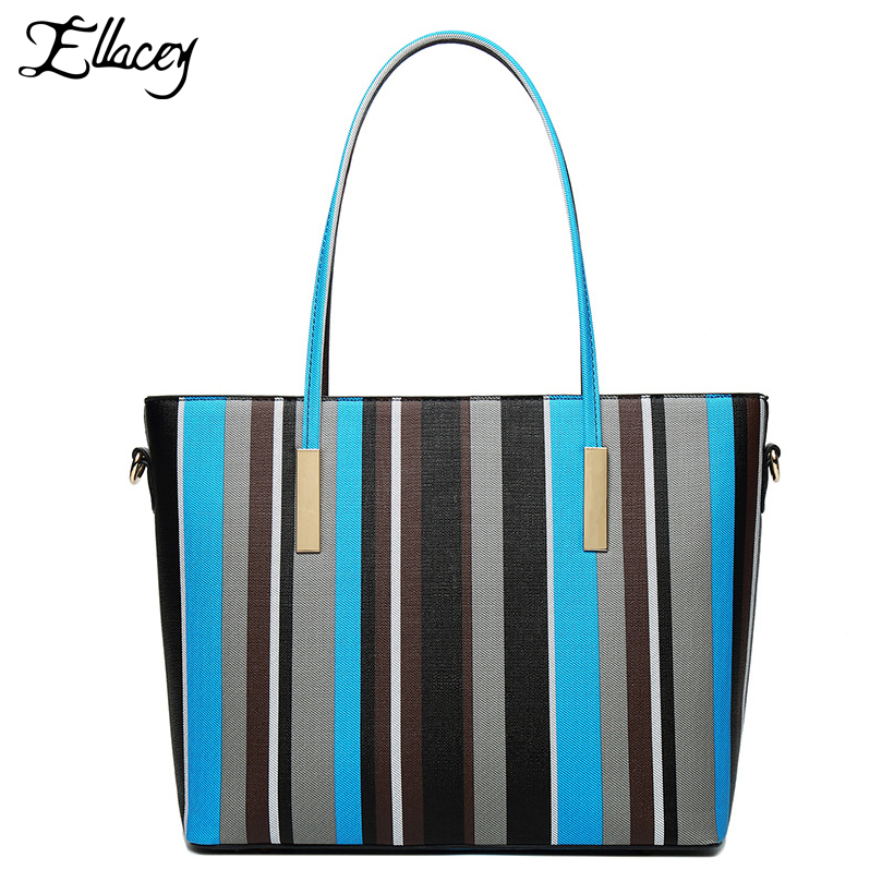 Buy One Get One Free Casual Striped Large Tote Bags For Women Brief Handbags Ladies Big Shopping Composite Bag Set Shoulder Bags buy monitor for desktop