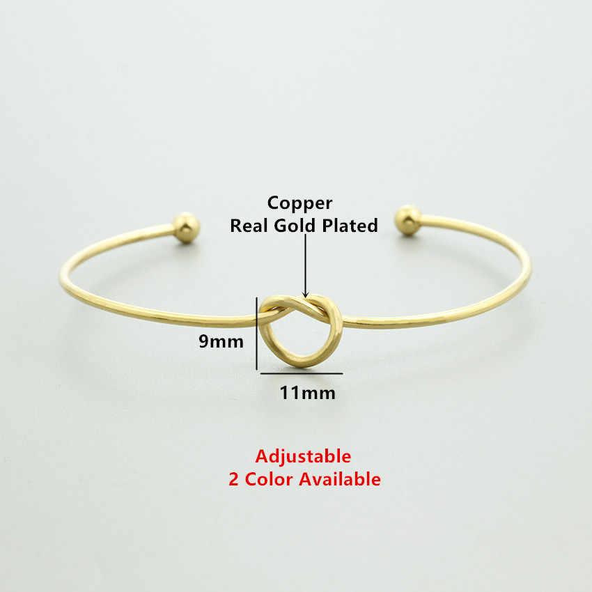 10 шт. минималистский дизайн из нержавеющей стали скрученный узел женские браслеты мужской открытый узел в форме сердца Браслет-манжета лучший друг ювелирные изделия