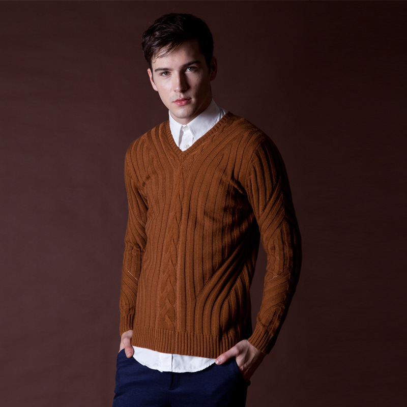 Wool sweater for men ~ Brown Color GT2Vd5