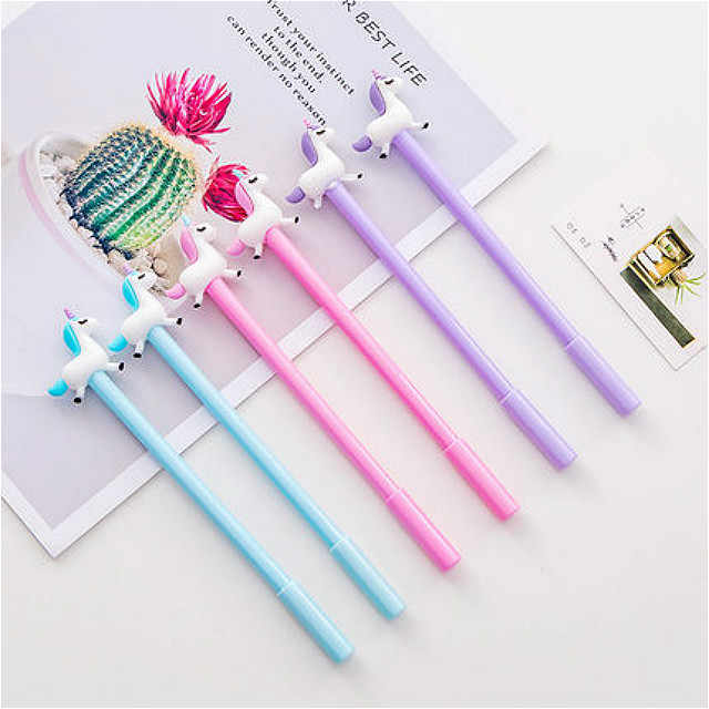 1pcs Little Fat Unicorn Gel Pen School Stationeries School Supplies Lovely Kawaii Cute Beautiful Colour Office Black 0.5mm